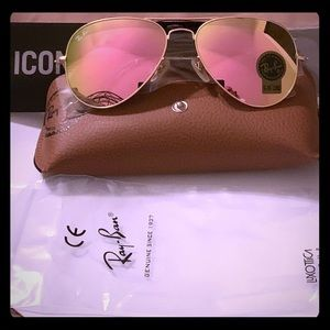 Ray Ban 58mm Gold Frame Flash Pink Lens